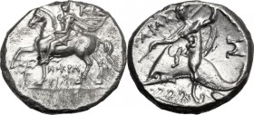 Greek Italy. Southern Apulia, Tarentum. AR Nomos, c. 240-228 BC. Bearded strategos on horse walking left, wearing chlamys, parazonium under left arm; ...