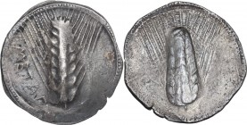 Greek Italy. Southern Lucania, Metapontum. AR Stater, 540-510 BC. METAΠ. Eight-grained barley ear; border of dots. / Incuse eight-grained barley ear. ...