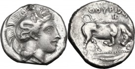Greek Italy. Southern Lucania, Thurium. AR Stater, c. 400-350 BC. Head of Athena right, wearing Attic helmet decorated with Scylla. / ΘΟΥΡΙΩΝ. Bull ch...