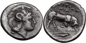 Greek Italy. Southern Lucania, Thurium. AR Diobol, c. 350-300 BC. Head of Athena right. / ΘΟΥΡΙΩΝ/ΗΡΑ. Bull charging right; fish in exergue. HN Italy ...