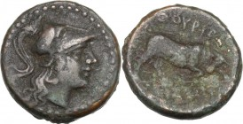 Greek Italy. Southern Lucania, Thurium. AE 17 mm. after c. 300 BC. Head of Athena right, wearing Corinthian helmet. / ΘΟΥΡΙΩΝ. Bull butting right; in ...
