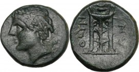 Greek Italy. Southern Lucania, Thurium. AE 16.5 mm. c. 280 BC. Head of Apollo left. / ΘΟΥΡΙ-ΩΝ. Tripod. HN Italy 1925 b var. (legend of reverse). AE. ...