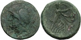 Greek Italy. Bruttium, Brettii. AE Double Unit, c. 211-208 BC. Helmeted head of Ares left; thunderbolt below. / BPETTIΩN. Athena advancing right, head...