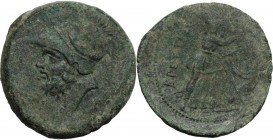 Greek Italy. Bruttium, Brettii. AE Double Unit, c. 208-203 BC. Helmeted head of Ares left. / BPETTIΩN. Athena advancing right, head facing, holding sp...