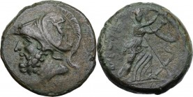 Greek Italy. Bruttium, Brettii. AE Double (Didrachm). Final issue, 208-203 BC. Head of Ares left, wearing crested Corinthian helmet decorated with gri...