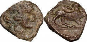 Greek Italy. Greek Italy, uncertain mint. Capua(?). AE 17 mm. Late 90s-early 80s BC. Head of Dionysos right, wearing ivy wreath. / Panther standing ri...