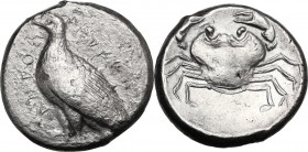 Sicily. Akragas. AR Tetradrachm c. 470-450 BC. Eagle standing left; AKPAC-ANTOΣ around. / Crab within shallow incuse circle. SNG ANS 979-81; HGC 2 77....