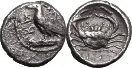 Sicily. Akragas. AR Litra, circa 450-440 BC. AK-PA (retrograde). Eagle standing left on Ionic capital. / Crab; ΛI (mark of value) below. HGC 2 121; We...