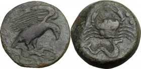 Sicily. Akragas. AE Hemilitron, c. 416-406 BC. Eagle standing right, wings spread, on hare. / Crab; below, hippocamp right; six pellets (mark of value...