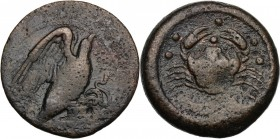 Sicily. Akragas. AE Hemilitron, c. 425-406 BC. Eagle standing right on serpent. / Crab; six pellets above; below, crayfish left. CNS I 29; HGC 2 138. ...