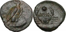 Sicily. Akragas. AE Onkia, c. 425-406 BC. [AK-PA]. Eagle standing right, head left, on a fish. / Crab; pellet between claws; below, [fish]. CNS I 82; ...