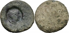 Sicily. Akragas. Punic Occupation (c. 405-392 BC). AE Countermarked Hemilitron, likely utilising an earlier eagle/crab issue as undertype. Head of Her...