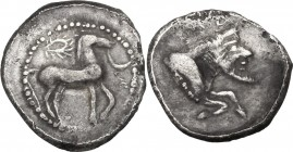 Sicily. Gela. AR Litra, c. 465-450 BC. Bridled horse advancing right; wreath above. / [ΓΕ]ΛΑ. Forepart of man-headed bull right. SNG ANS 54-60; HGC 2 ...