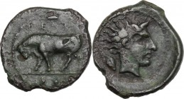 Sicily. Gela. AE Trias, c. 420-405 BC. ΓΕΛΑΣ. Bull standing left; in exergue, three pellets. / Horned head of Gelas right; barley grain behind. CNS II...