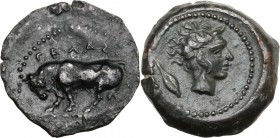 Sicily. Gela. AE Onkia, c. 420-405 BC. ΓΕΛΑΣ. Bull standing left; [pellet in exergue]. / Horned head of Gelas right; barley grain behind. CNS III 29; ...
