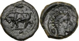 Sicily. Gela. AE Onkia, c. 420-405 BC. ΓΕΛΑΣ. Bull standing left; above, barley grain; in exergue, pellet. / Horned head of Gelas right; barley grain ...
