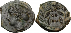 Sicily. Himera. AE Hemilitron, c. 415-409 BC. IM-E. Head of nymph left; six pellets before. / Six pellets within wreath. CNS I 35; HGC 2 479. AE. 3.21...