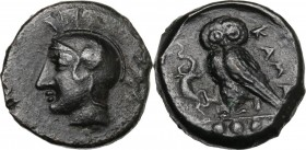 Sicily. Kamarina. AE Tetras or Trionkion, c. 420-405 BC. Helmeted head of Athena left. / KAMA. Owl standing left, head facing, grasping lizard; three ...