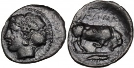 Sicily. Katane. AR Litra, c. 405-402 BC. Head of nymph left, wearing sphendone. / ΚΑΤΑΝΑΙΩ[N]. Bull butting right; in exergue, crawfish right. SNG ANS...