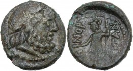 Sicily. Panormos. AE 17.5 mm. after 241 BC. Laureate head of Zeus right. / [Π]Α-ΝΟΡ-[Μ]ΙΤΑΝ. Warrior standing left, shield at side, holding patera and...