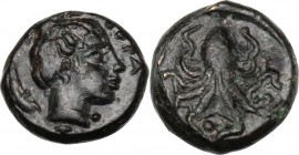 Sicily. Syracuse. Second Democracy (466-405 BC). AE Onkia. ΣVΡΑ. Head of Arethusa right, hair on top of the head in krobylos. / Octopus; below, pellet...