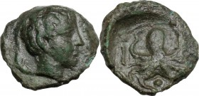 Sicily. Syracuse. Second Democracy (466-405 BC). AE Onkia, after 425 BC. Female head right; ethnic before; behind, dolphin. / Octopus; pellet between ...
