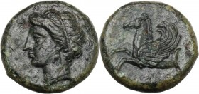 Sicily. Syracuse. Timoleon and the Third Democracy (344-317 BC). AE 16 mm. Female head left; traces of ethnic before. / Forepart of Pegasos left; belo...