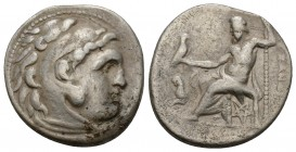 Kings of Thrace, Lysimachos AR Drachm. In the name and types of Alexander III of Macedon. Kolophon, circa 301-297 BC. Head of Herakles right, wearing ...
