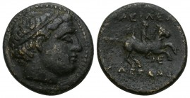 Kings of Macedon. Uncertain mint in Macedon. Philip II of Macedon 359-336 BC. Unit Æ Diademed head of Apollo right /youth on horseback riding right, E...