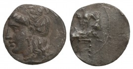 Cilicia, Uncertain, c. 4th century BC. AR Obol Baaltars seated l., holding sceptre. / Female head (Aphrodite?) Condition Very Good 0.6 gr. 10 mm.