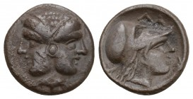 Mysia, Lampsakos AR Diobol. 4th-3rd century BC. Female janiform head, [dolphin right below] / Helmeted head of Athena right, around. SNG France 1193. ...