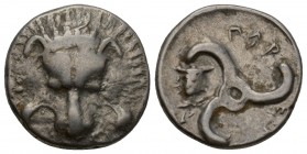 DYNASTS OF LYCIA. Pericles, circa 380-360 BC. 1/3 stater facing lion's scalp. Rev. 𐊓𐊁𐊕-𐊆𐊋-𐊍𐊁 ('Perikl...