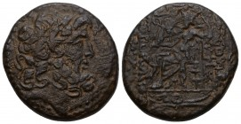 Syria, Antioch Æ20. Pseudo-Autonomous issue. Dated SE 236 = 77/6 BC. Laureate head of Zeus right / Zeus, wearing himation, seated left, holding Nike a...