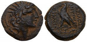 Seleukid Empire, Antiochos VIII Epiphanes Æ Antioch, dated SE 193 = 120/19 BC. Diademed and radiate head right / BAΣIΛEΩΣ ANTIOXOY EΠIΦANOYΣ, eagle st...