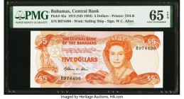 Bahamas Central Bank 5 Dollars 1974 (ND 1984) Pick 45a PMG Gem Uncirculated 65 EPQ.   HID09801242017  © 2020 Heritage Auctions | All Rights Reserved