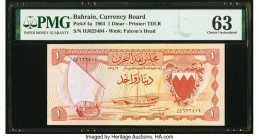 Bahrain Currency Board 1 Dinar 1964 Pick 4a PMG Choice Uncirculated 63. Small tear.  HID09801242017  © 2020 Heritage Auctions | All Rights Reserved
