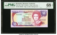 Bermuda Monetary Authority 5 Dollars 1989 Pick 35a PMG Superb Gem Unc 68 EPQ.   HID09801242017  © 2020 Heritage Auctions | All Rights Reserved