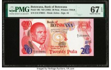 Botswana Bank of Botswana 20 Pula ND (1982) Pick 10b PMG Superb Gem Unc 67 EPQ.   HID09801242017  © 2020 Heritage Auctions | All Rights Reserved