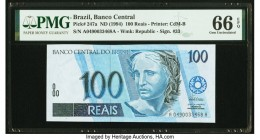 Brazil Banco Central Do Brasil 100 Reais ND (1994) Pick 247a PMG Gem Uncirculated 66 EPQ.   HID09801242017  © 2020 Heritage Auctions | All Rights Rese...