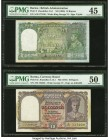 Burma Reserve Bank of India 10 Rupees ND (1938) Pick 5 Jhun5.5.1 PMG Choice Extremely Fine 45. Burma Currency Board 10 Rupees ND (1947) Pick 32 Jhun5....