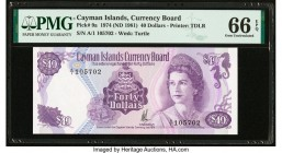Cayman Islands Currency Board 40 Dollars 1974 (ND 1981) Pick 9a PMG Gem Uncirculated 66 EPQ.   HID09801242017  © 2020 Heritage Auctions | All Rights R...