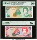 Cayman Islands Monetary Authority 5; 10 Dollars 1998 Pick 22a; 23 Two Matching Low Serial Number Examples PMG Gem Uncirculated 66 EPQ; Superb Gem Unc ...