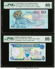 Cook Islands Government of the Cook Islands 20 Dollars ND (1987) Pick 5a PMG Gem Uncirculated 66 EPQ; Bahrain Monetary Agency 5 Dinars 1973 (ND 1993) ...