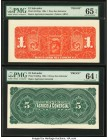 El Salvador Banco Agricola Comercial 1; 5 Peso ND (1890s) Pick S101bp; S102bp Two Back Proofs PMG Gem Uncirculated 65 EPQ; Choice Uncirculated 64 EPQ....