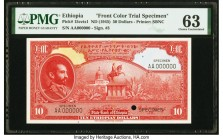 Ethiopia State Bank of Ethiopia 50 Dollars ND (1945) Pick 15cts1 Front Color Trial Specimen PMG Choice Uncirculated 63. Black Specimen overprints; one...