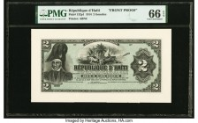 Haiti Republique D'Haiti 2 Gourdes 1914 Pick 132p1 Front Proof PMG Gem Uncirculated 66 EPQ.   HID09801242017  © 2020 Heritage Auctions | All Rights Re...