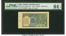 India Government of India 1 Rupee 1935 Pick 14b Jhun3.2.1A PMG Choice Uncirculated 64 EPQ. Note unaffected with issues in selvage.   HID09801242017  ©...
