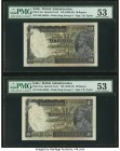 India Government of India 10 Rupees ND (1928-35) Pick 16a Jhun3.8.1A-B Two Consecutive Examples PMG About Uncirculated 53. Staple and spindle holes at...