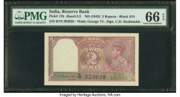 India Reserve Bank of India 2 Rupees ND (1943) Pick 17b Jhun4.2.2 PMG Gem Uncirculated 66 EPQ. Staple holes at issue.   HID09801242017  © 2020 Heritag...