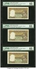 India Reserve Bank of India 5 Rupees ND (1943) Pick 18b Jhun4.3.2 Three Consecutive Examples PMG Choice Uncirculated 63 (3). Staple holes at issue and...